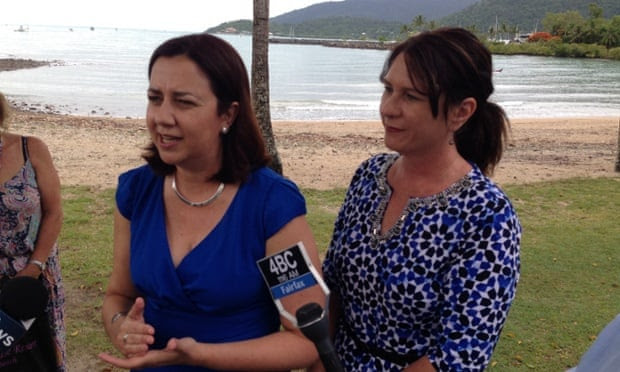 labor leader Annastacia Palaszczuk, left, holds a press conference in Airlie Beach on Thursday, alongside Labor's Whitsundays candidate, Bronwyn Taha. Labor has pledged to cut the