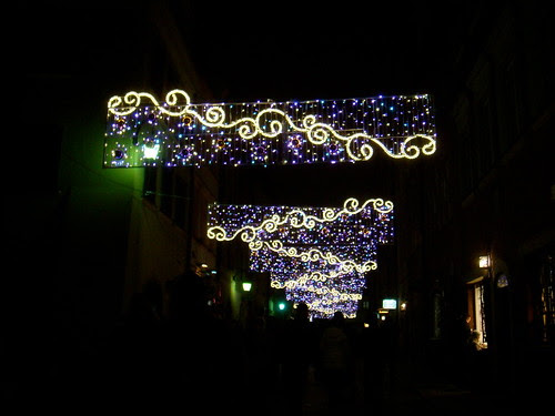 Christmas illumination in the Old Town in Warsaw.