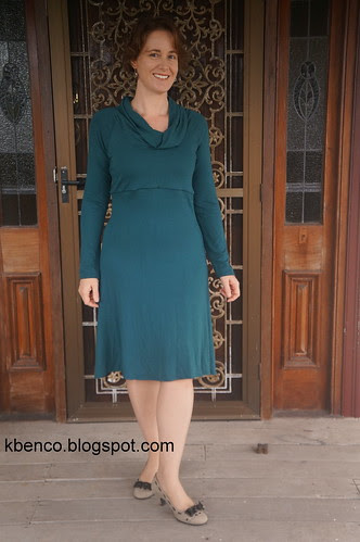 Green merino knit dress