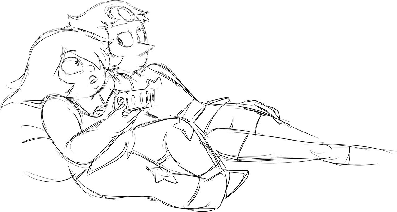I wanted to finish this for Pearlmethyst week but I never did. It's supposed to be Pearl and Amethyst chilling on the couch, watching TV. Or Amethyst watching TV and Pearl watching her.