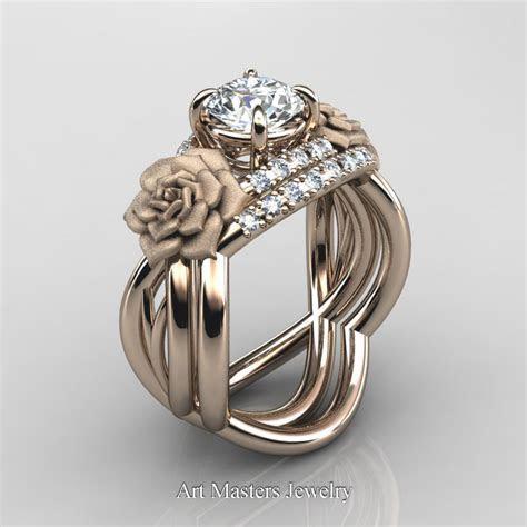 Nature Inspired 14K Rose Gold 1.0 Ct White Sapphire