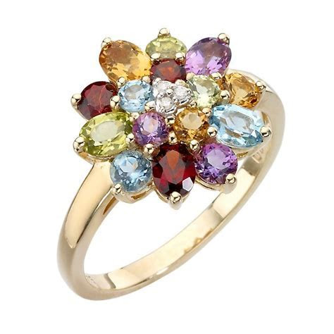 9ct gold diamond and multi coloured stones ring in 2019