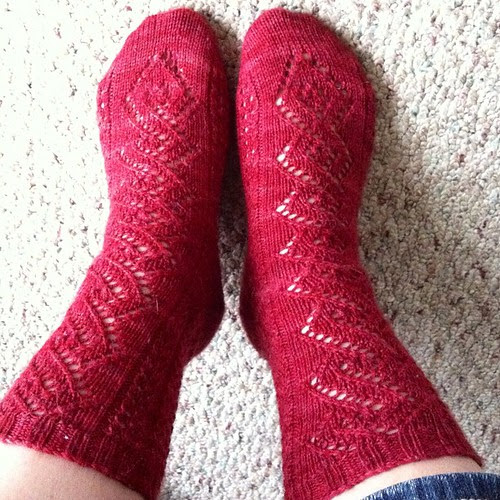 By request, red socks! #norepeatdec Day 6: the sample for my pattern Garnish in Yarntini.