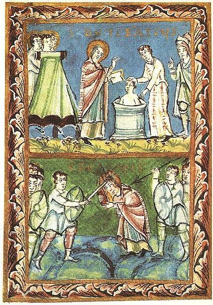 File:St Boniface - Baptising-Martyrdom - Sacramentary of Fulda - 11Century.jpg