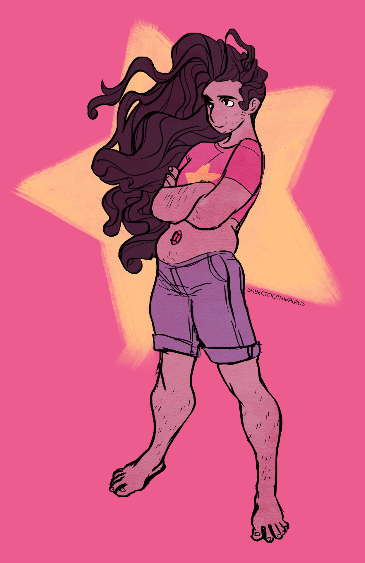I was so excited that the stubbly Stevonnie I drew over a year ago became canon that I made a new Stevonnie print