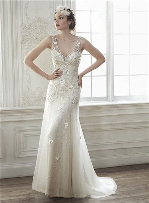 Sexy Deep V Neck Open Back Tulle Beaded Wedding Dress With