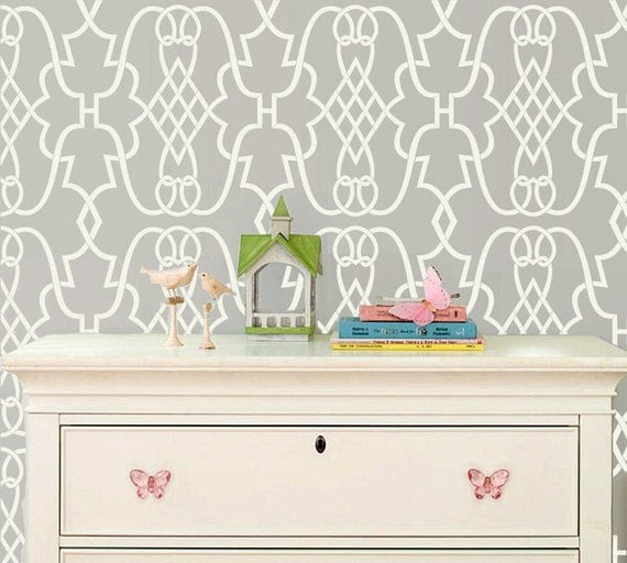 Sonata Allower Pattern Wall Room Decor Made by OMG Stencils Home Improvements Color Paintings 0001