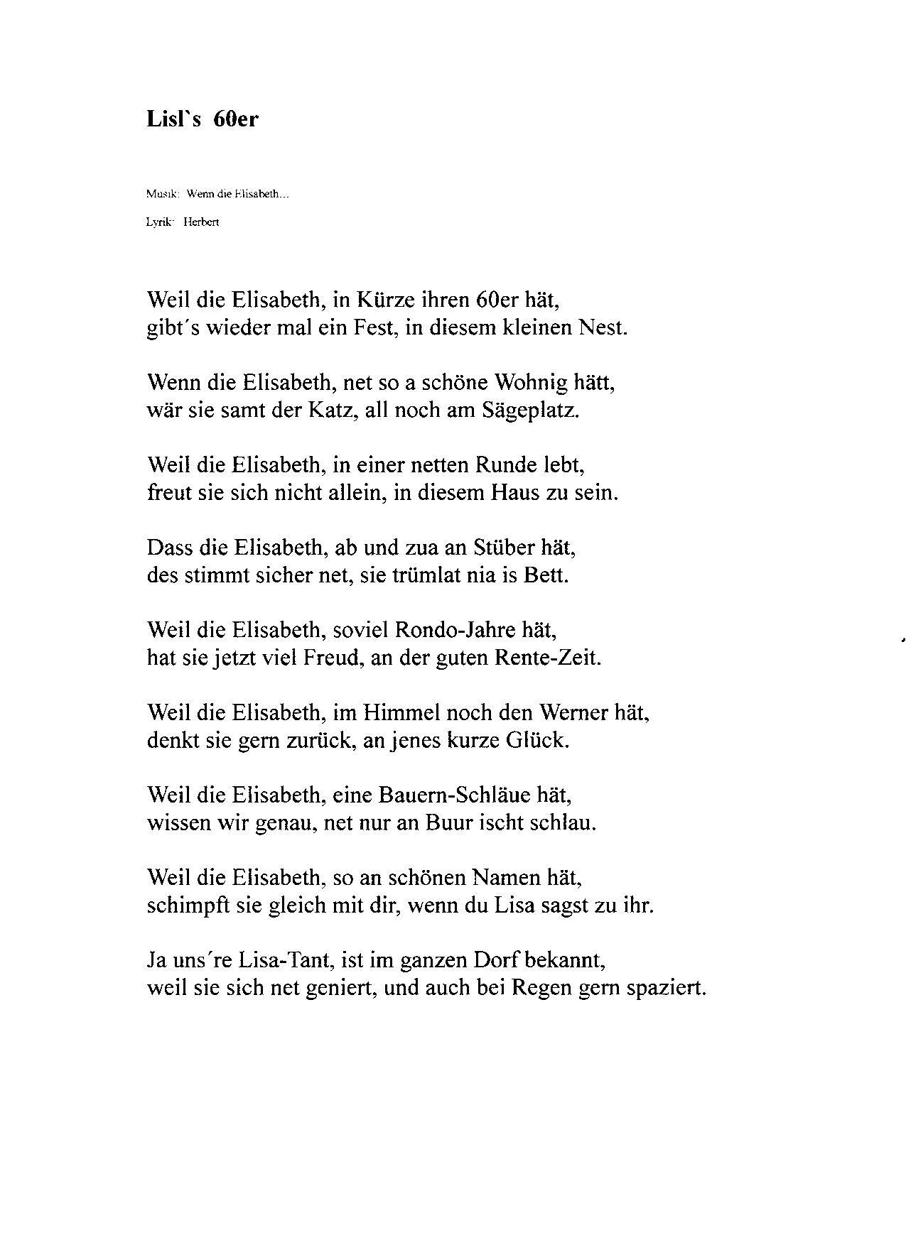 Lied zum 70 geburtstag text