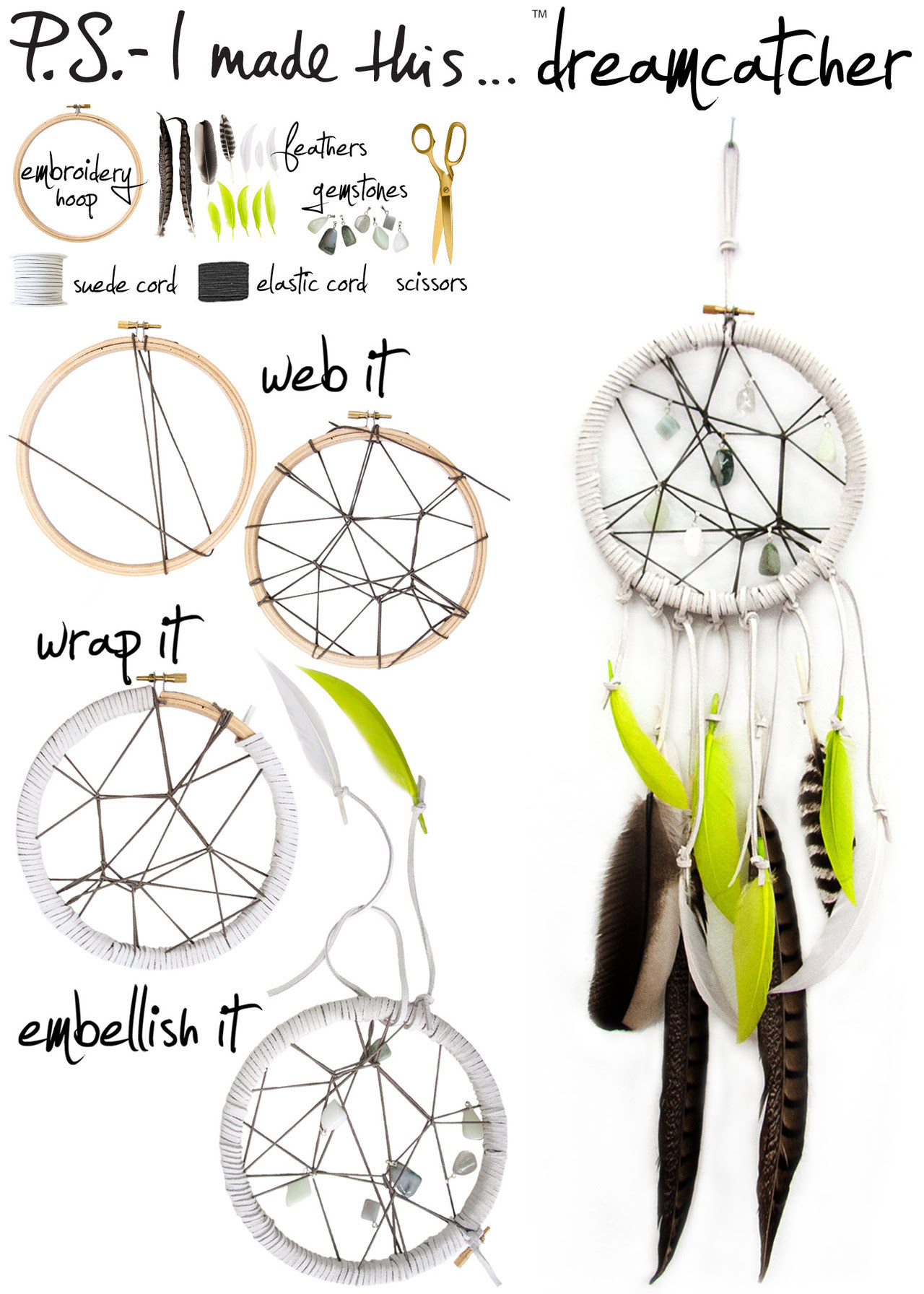 Follow your DIY dreams and add an eclectic inspiring touch to any room. Originating from Native American culture, dreamcatchers are said to filter out bad dreams and allow the good ones to float through. A geometric weave, bright feathers and the elegant touch of colorful stone accouterments combine to create a covetable object that's trendy yet timeless.  To create:  Web the elastic cord around the embroidery hoop - get inspired by structured spider webs or intertwine your own unique organic shape. Secure the web and wrap the frame of the embroidery hoop with suede cord. Embellish the web with gemstones or beads. Finish off by tying scrap suede cord in a variety of lengths to the bottom of the hoop and dangle an assortment of feathers.