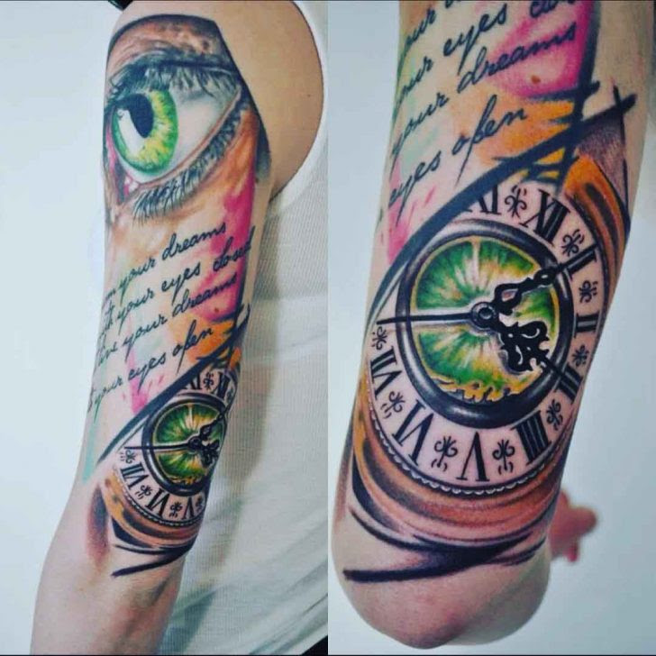 Eye And Clock Half Sleeve Tattoo Best Tattoo Ideas Gallery