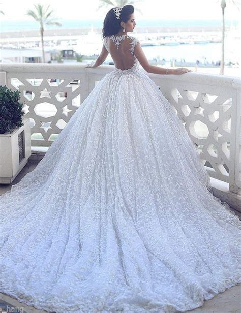 Ball Gown Lace Open Back Scoop Cap Sleeves Chapel Train