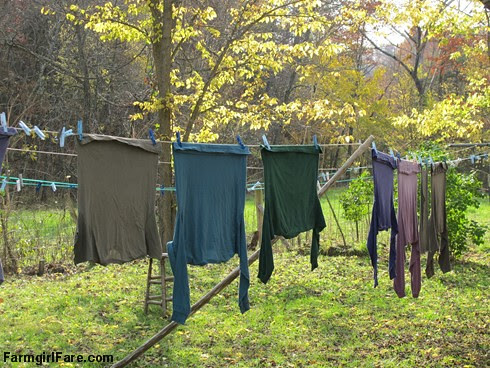 (24-12) Autumn colored laundry on the year round line - FarmgirlFare.com