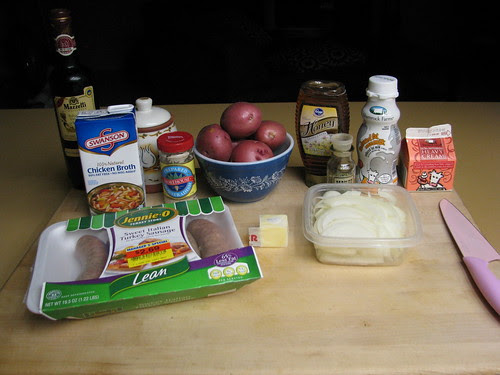 Ingredients for Sweet Sausages Braised In Onion with Horseradish Smashed Potatoes