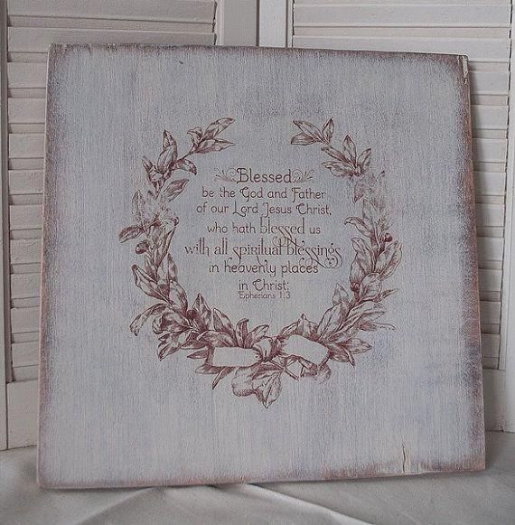 I signs Spiritual Rustic  rustic  Wood  Sign  Blessings scripture LOVE Beautiful!  Scripture