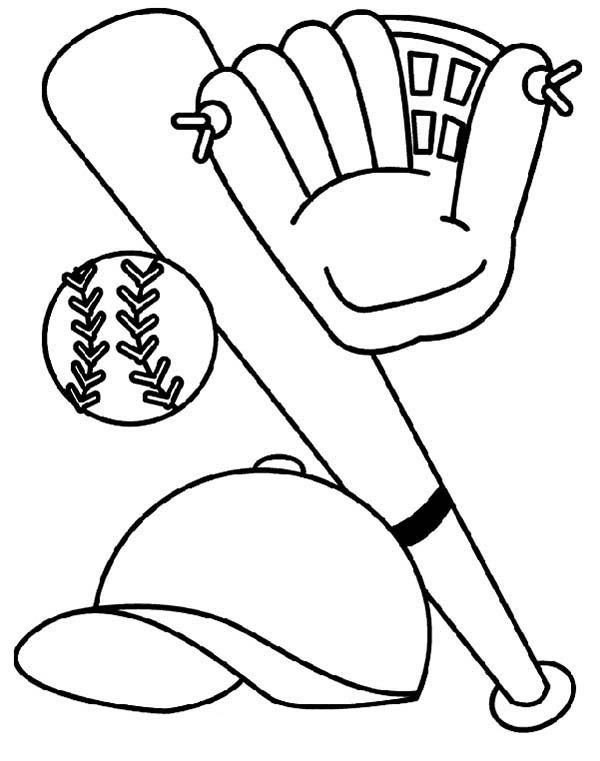 Bat Glove Hat and Baseball Coloring Page