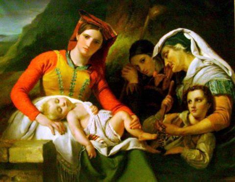 Famille italienne (Repos des paysans dans la campagne de Rome)