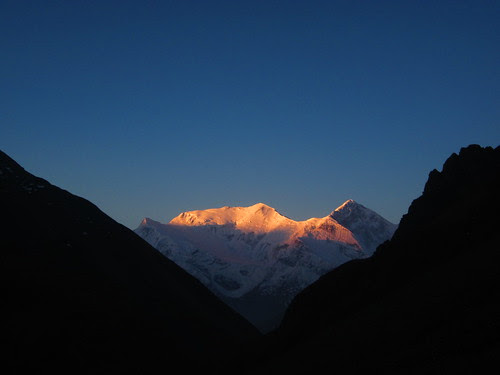 sunset over Annapurna III from Thorong Phedi