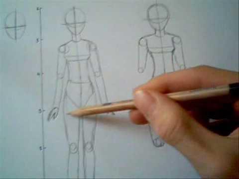 How to draw a female body manga/anime style - YouTube