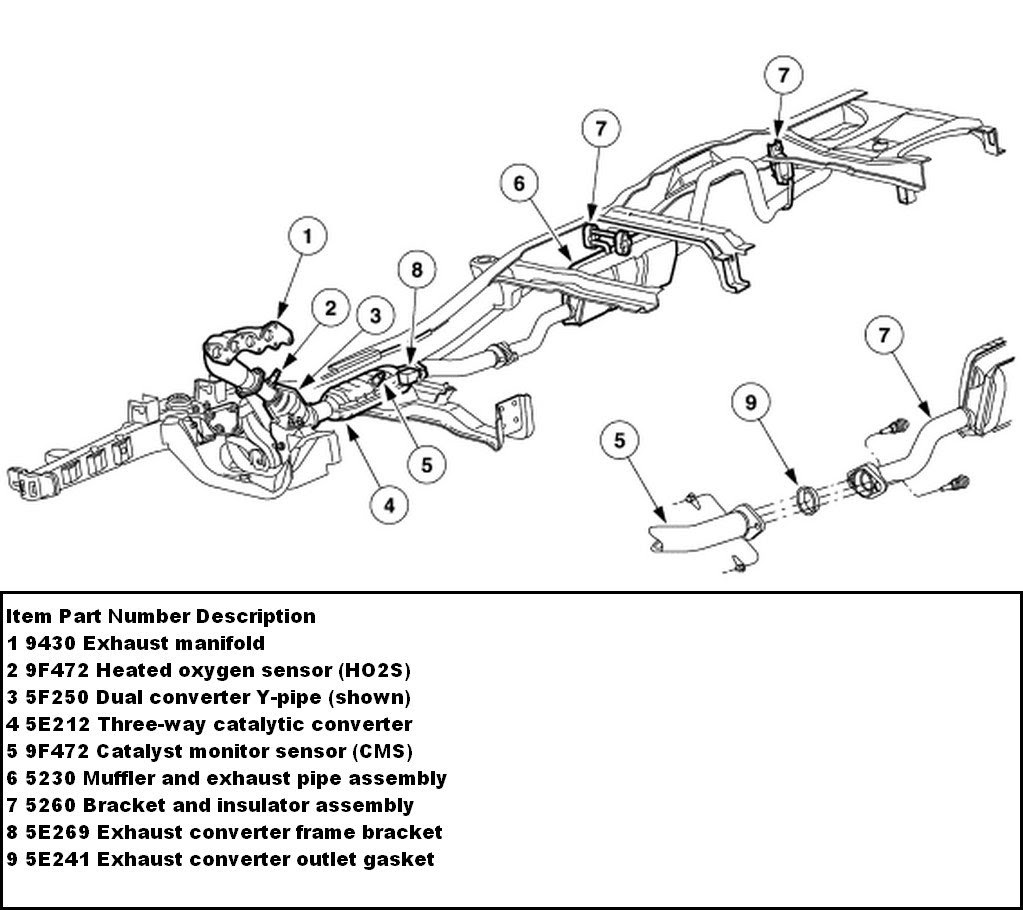 1999 Ford ranger exhaust system diagram