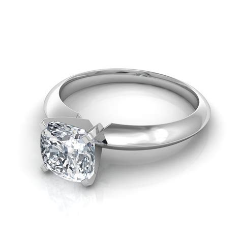Knife Edge Cushion Cut Diamond Solitaire Engagement Ring