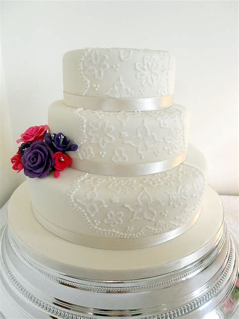 3 tier Brush Embroidery Wedding Cake plus flowers   A