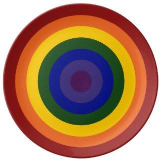 Rainbow Bullseye Porcelain Plates