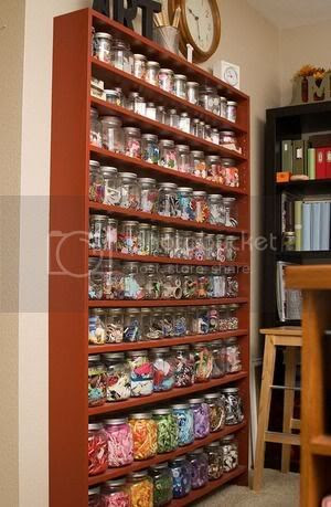 mason jars filled with buttons and ribbon storage