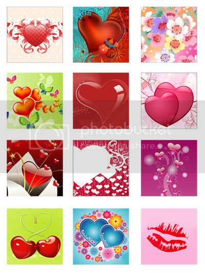Free digital collage sheet with hearts