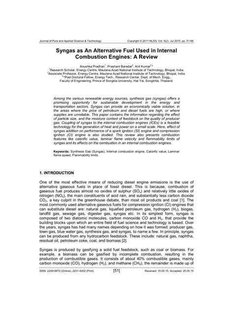(PDF) Syngas as An Alternative Fuel Used in Internal