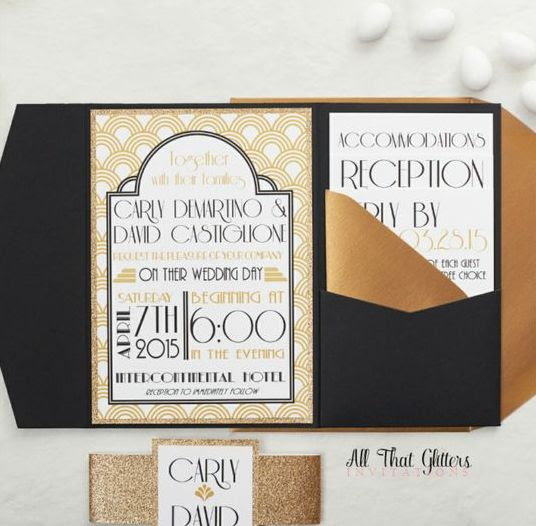 ein art-deco-Muster gepaart mit schwarzen pocketfolds, antik-gold-Umschläge und gold-glitter
