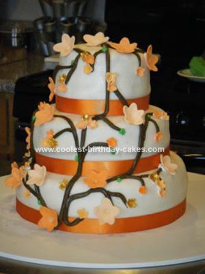 Homemade Orange Cherry Blossom Wedding Cake