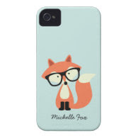 Cute Hipster Red Fox Case-Mate iPhone 4 Case