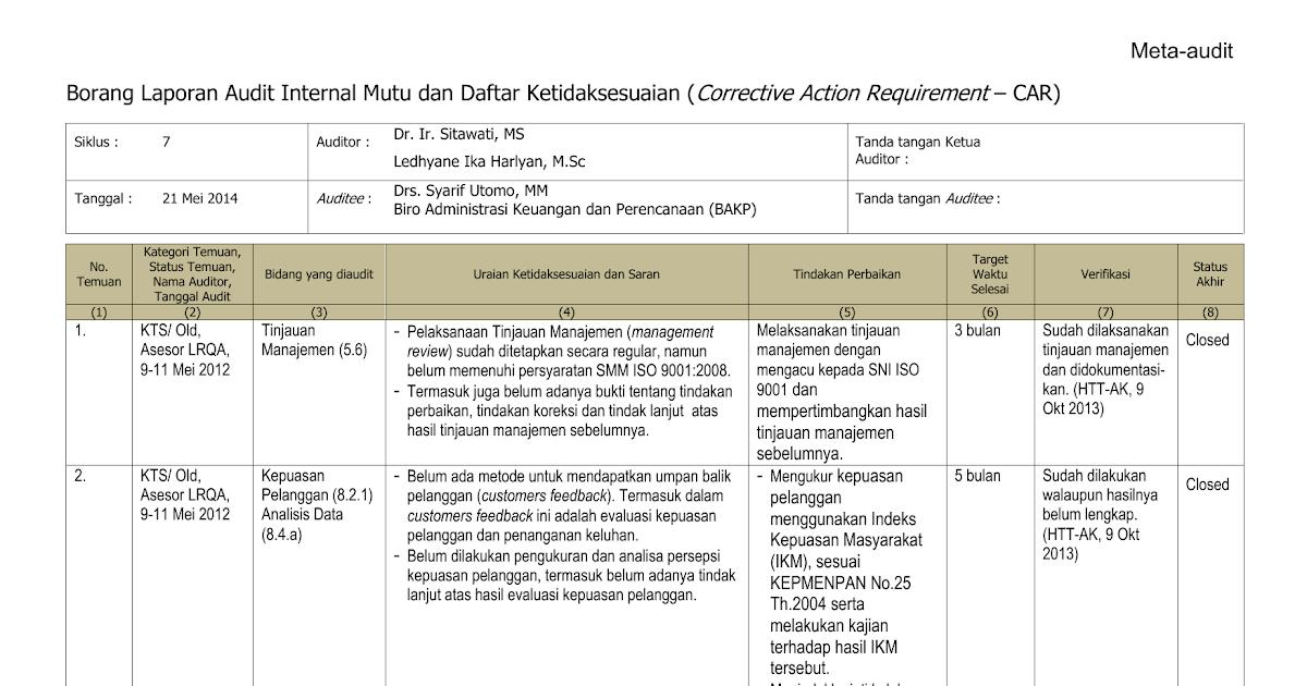Contoh Laporan Tindak Lanjut Temuan Audit Internal Kumpulan Contoh Laporan