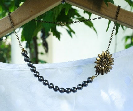 Vintage Style Sunflower Bloom Necklace - Dark Gray Pearls and Antique Gold