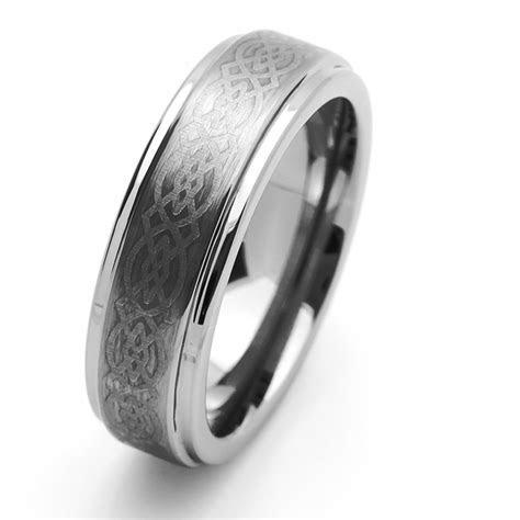 Men 7MM Tungsten Carbide Wedding Band Laser Engraved