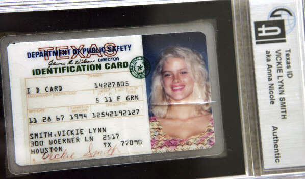 Anna Nicole Smith's Texas ID card, seen in Dallas, April 5. Photo: LM Otero, Associated Press