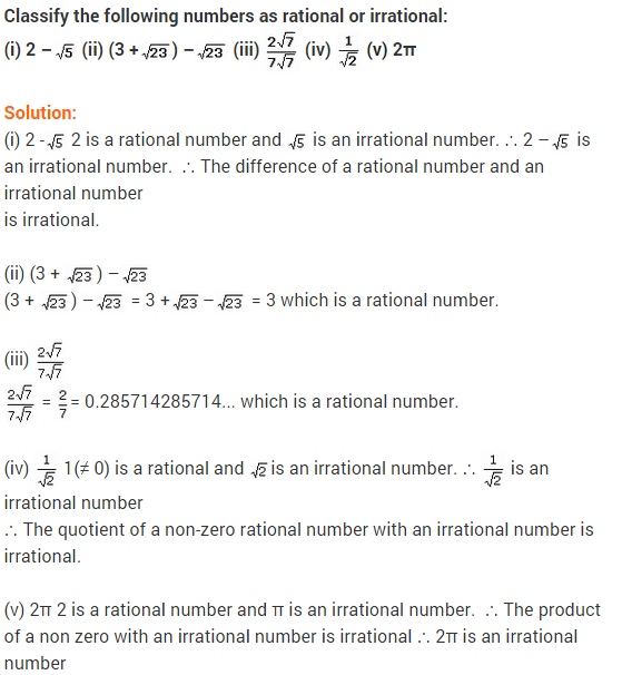 NCERT Solutions for Class 9 Maths Number System Ex 1.5