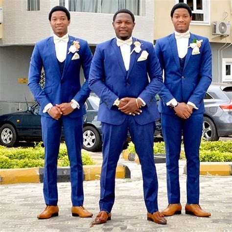 Royal Blue Groom Tuxedos Tailor Made Mens Wedding Suits
