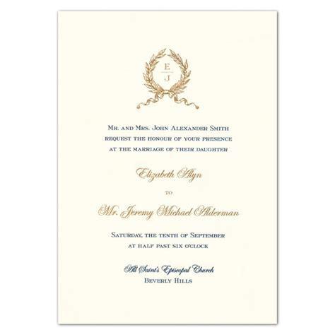 Wreath Monogram White Embassy Wedding Invitations   PaperStyle