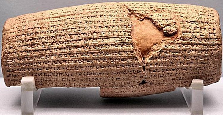 In this text, a clay cylinder now in the British Museum, Cyrus describes how he conquers the old city. Nabonidus is considered a tyrant with strange religious ideas, which causes the god Marduk to intervene. That Cyrus thought of himself as chosen by a supreme god, is confirmed by Second Isaiah; h is claim that he entered the city without struggle corroborates the same statement in the Chronicle of Nabonidus.