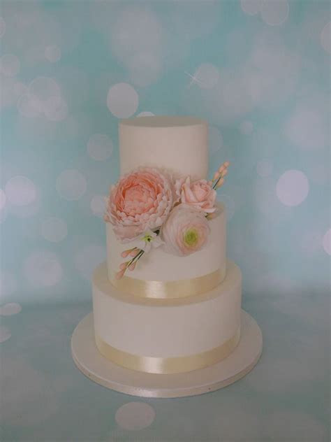 Simple White Wedding Cake With Peach Flowers   CakeCentral.com