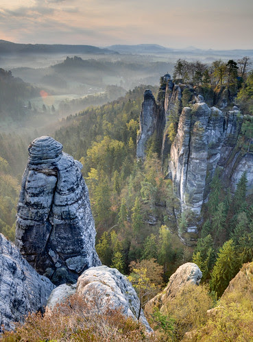 Sandstone Morning (HDR, Saxon Switzerland, Germany) by Xindaan