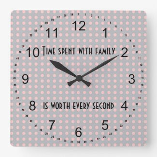 Gray and Pink Polka Dots Family Quote Wallclocks