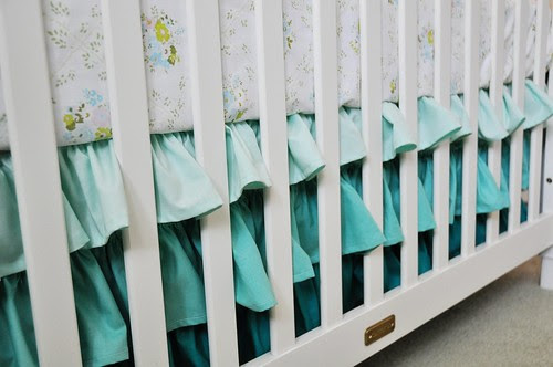 Handmade ruffled crib skirt