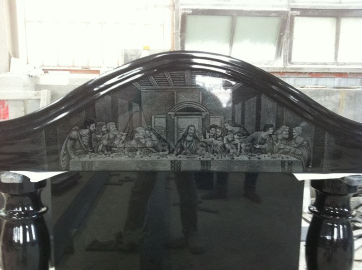 Irlanda Tasarım Siyah Granit Mezar Taşı Son Akşam Yemeği Lazer