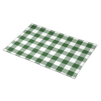 Green and White Gingham Pattern placemat