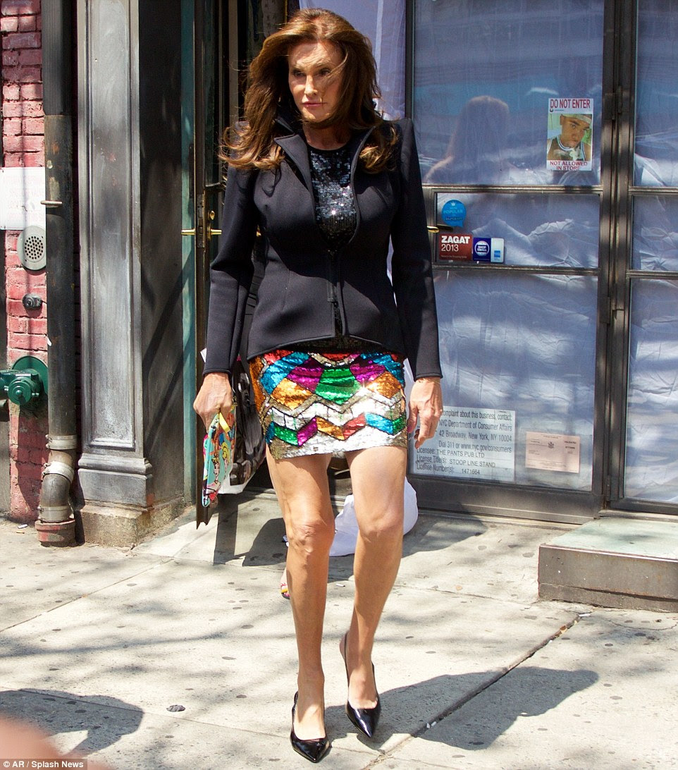 Her first mini skirt! Caitlyn Jenner shows off her own unique style after visiting Patricia Field's boutique store in New York City on Tuesday