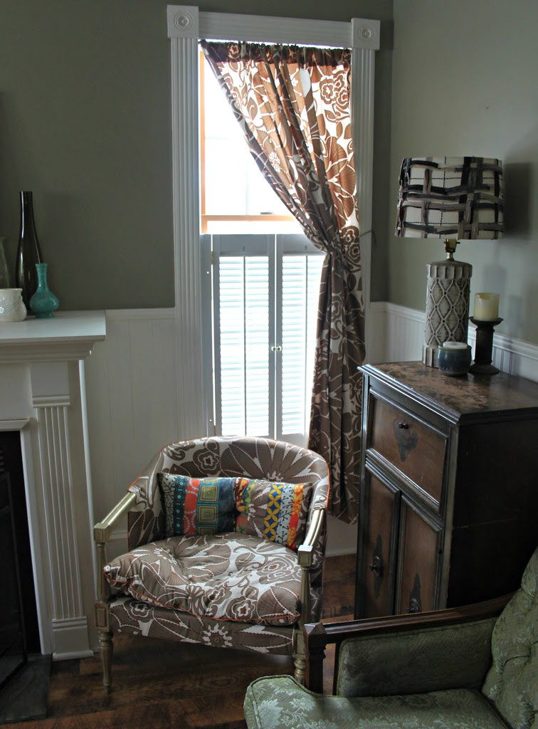 drawing room chair and curtain
