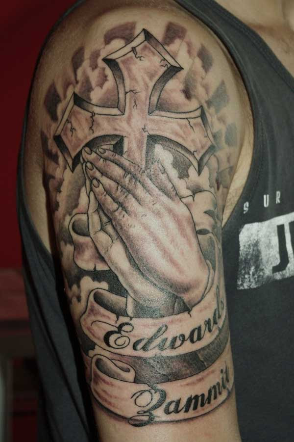 Cross With Praying Hands Sleeve Tattoos
