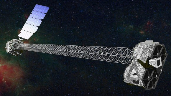 The NuStar Space Telescope launched into Earth orbit by a Orbital Science Corp. Pegasus rocket, 2012. The Wolter telescope design images throughout a spectral range from 5 to 80 KeV. (Credit: NASA/Caltech-JPL)